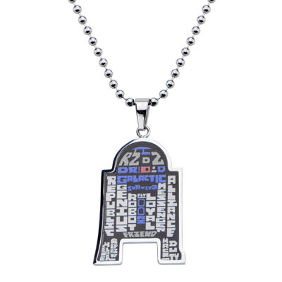 Star Wars® R2-D2 Mens Stainless Steel Pendant Necklace
