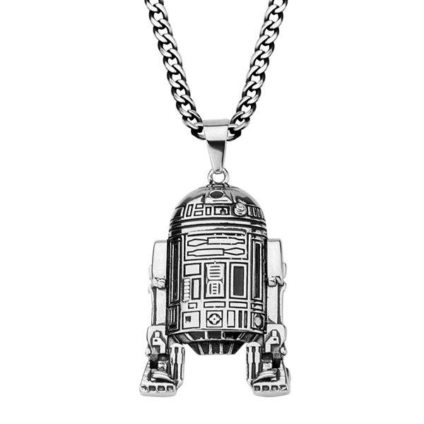 Star Wars® R2-D2 Mens 3D Stainless Steel Pendant Necklace