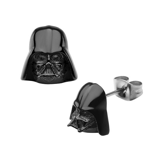 Star Wars® Darth Vader Mens Stainless Steel and Black IP Earrings