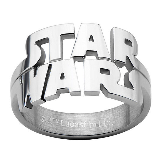 Star Wars® Logo Cutout Mens Stainless Steel Ring