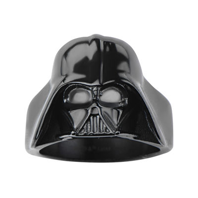 Star Wars® Darth Vader Mens Stainless Steel and Black IP 3D Ring