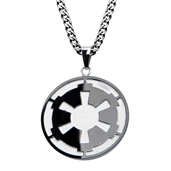 Star Wars Death Star Symbol Mens Stainless Steel And Black Ip Pendant Necklace