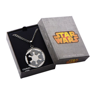 Star Wars® Death Star Symbol Mens Stainless Steel and Black IP Pendant Necklace