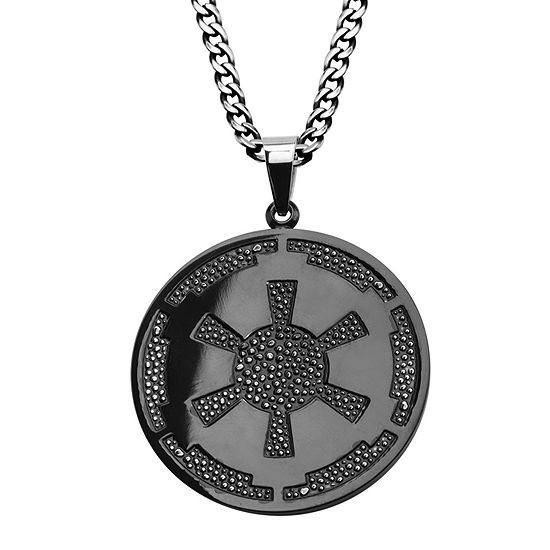 Star Wars Imperial Crest Mens Stainless Steel And Black Ip Pendant Necklace