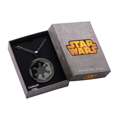 Star Wars® Imperial Crest Mens Stainless Steel and Black IP Pendant Necklace