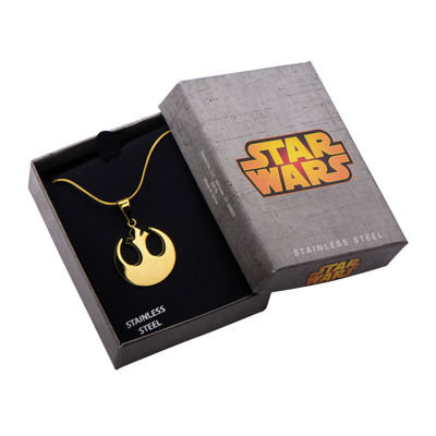 Star Wars® Rebel Symbol Mens Stainless Steel Gold-Tone IP Pendant Necklace