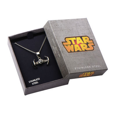 Star Wars® Stainless Steel TIE Fighter Pendant Necklace