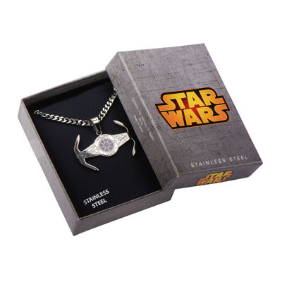 Star Wars® Mens Stainless Steel TIE Fighter Pendant Necklace