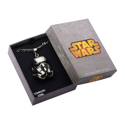 Star Wars® Stormtrooper Mens 3D Stainless Steel Pendant Necklace