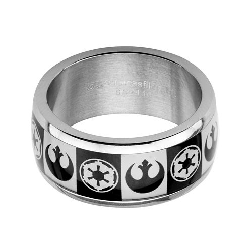 Star Wars® Imperial and Rebel Symbol Mens Stainless Steel Ring
