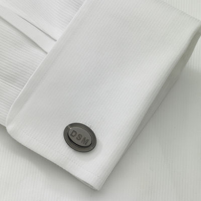 Personalized Oval 5-Line Border Cuff Links