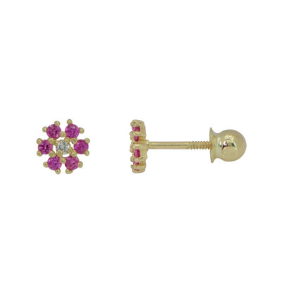 Girls 14K Gold Kids Synthetic Ruby And Cubic Zirconia Flower Stud Earrings