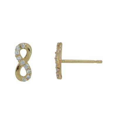 Girls 14K Gold Cubic Zirconia Infinity Stud Earrings