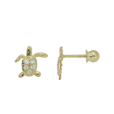 Girls 14K Gold Cubic Zirconia Turtle Stud Earrings