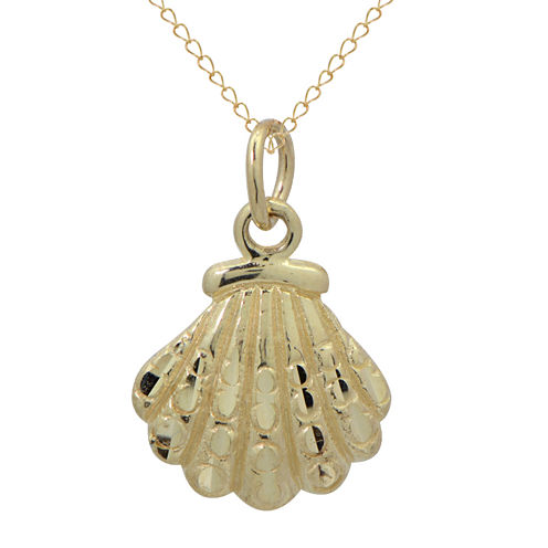 Girls 14K Gold Seashell Pendant Necklace