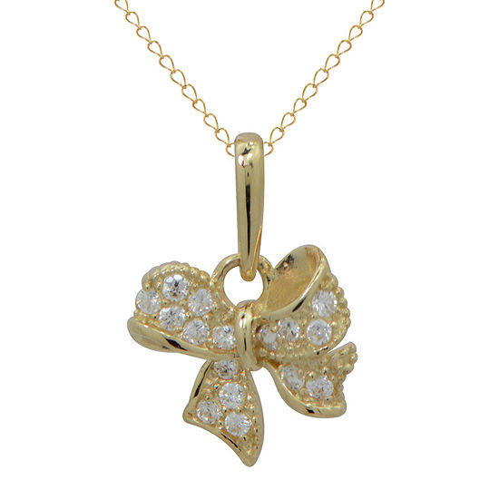 Girls 14K Gold Cubic Zirconia Ribbon Pendant Necklace