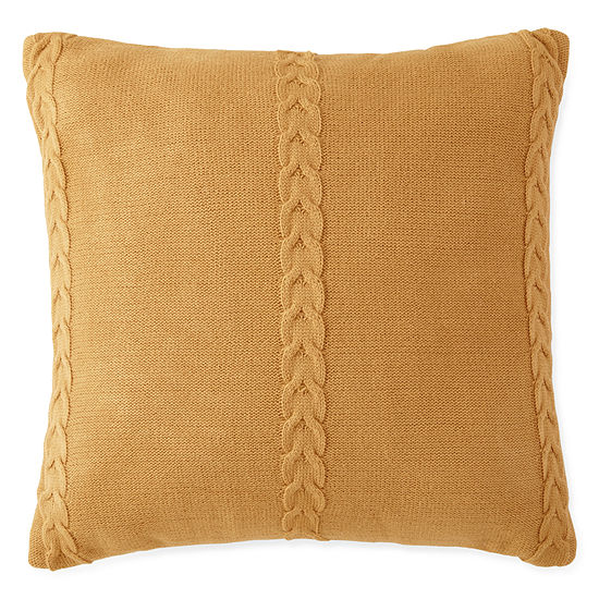 Jcpenney Home Tapestry Stripe Cable Knit Square Decorative Pillow