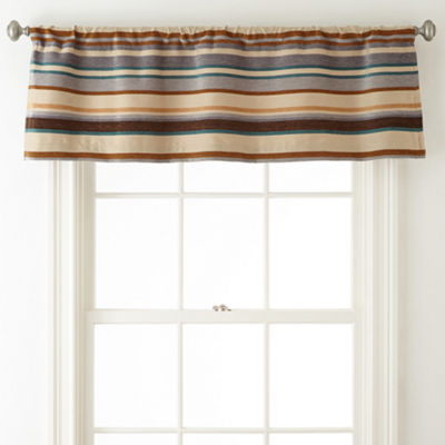 JCPenney Home™ Tapestry Stripe Rod-Pocket/Back-Tab Lined Valance