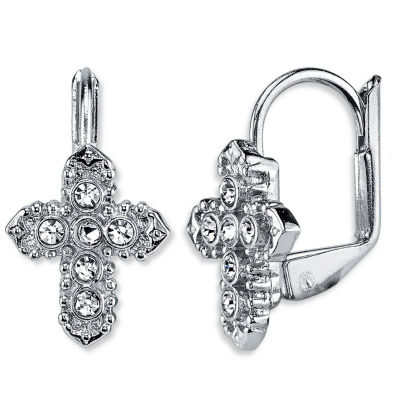 1928 Symbols Of Faith Religious Jewelry Clear Drop Earrings