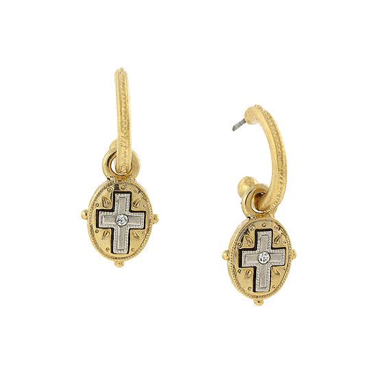 1928 Religious Jewelry Religious Jewelry Cross Drop Earrings