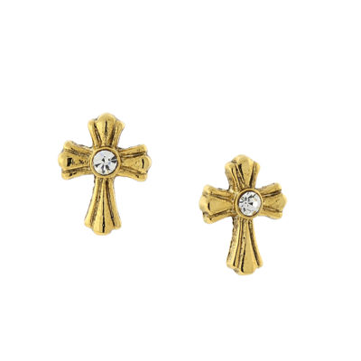 1928 Symbols Of Faith Religious Jewelry Clear 13mm Cross Stud Earrings