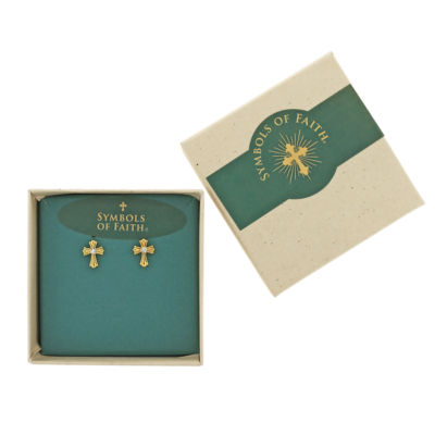 1928 Symbols Of Faith Religious Jewelry Clear Stud Earrings