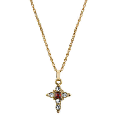 1928 Symbols Of Faith Religious Jewelry Womens Red Cross Pendant Necklace
