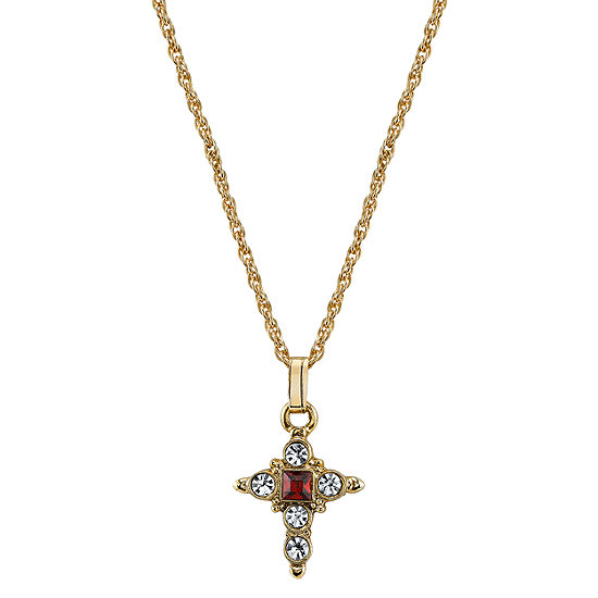 1928 Religious Jewelry Religious Jewelry Red 16 Inch Rope Cross Pendant Necklace
