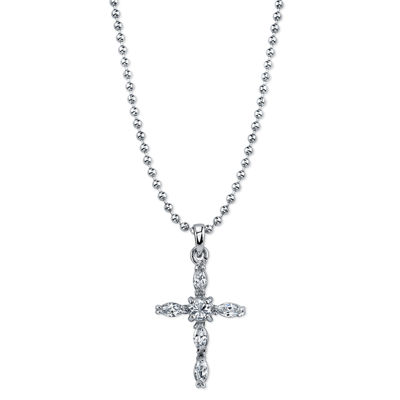 1928 Symbols Of Faith Religious Jewelry Womens Clear Pendant Necklace