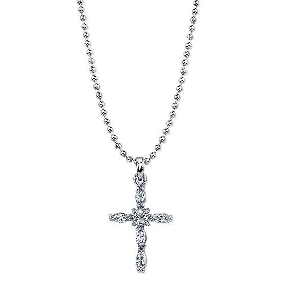 1928 Religious Jewelry Religious Jewelry 16 Inch Bead Cross Pendant Necklace