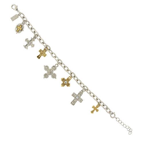 1928 Symbols Of Faith Religious Jewelry Womens Clear Charm Bracelet