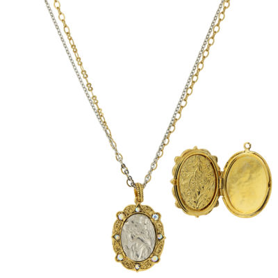 1928 Symbols Of Faith Religious Jewelry Womens Locket Necklace