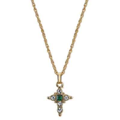 1928 Symbols Of Faith Religious Jewelry Womens Green Cross Pendant Necklace