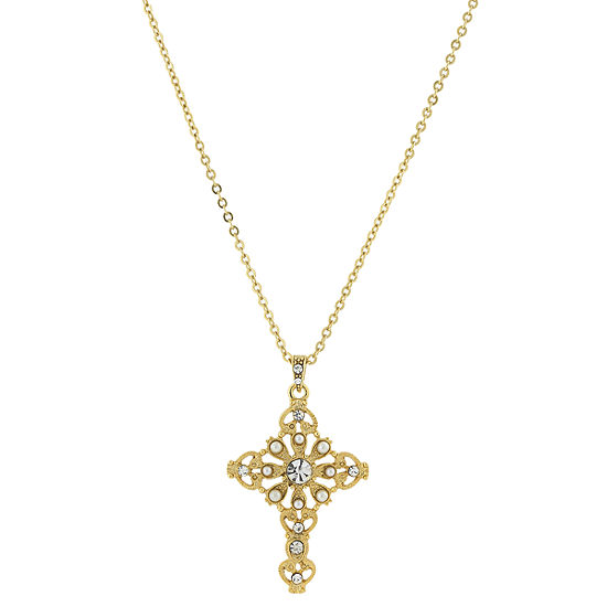 1928 Religious Jewelry Religious Jewelry 16 Inch Link Cross Pendant Necklace