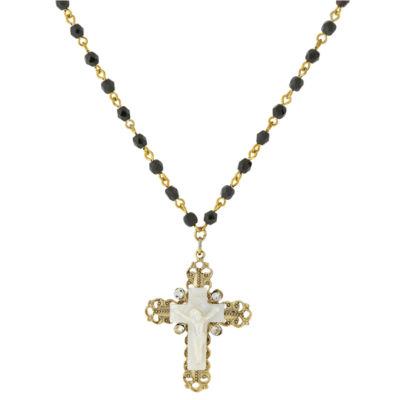 1928 Symbols Of Faith Religious Jewelry Womens White Cross Pendant Necklace