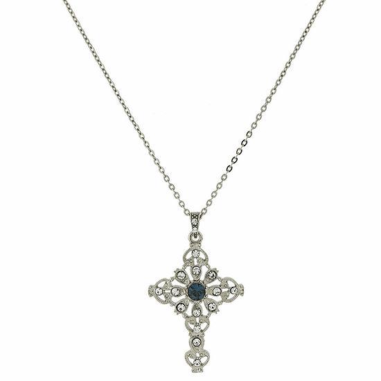1928 Symbols Of Faith Religious Jewelry Womens Blue Cross Pendant Necklace