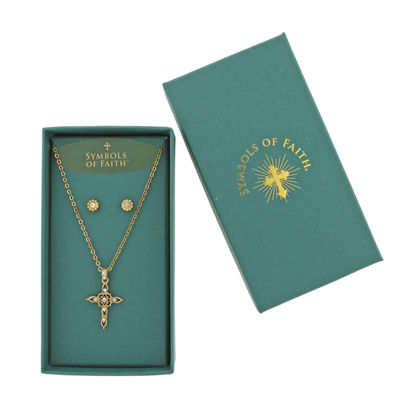 1928 Symbols Of Faith Religious Jewelry Clear Gold Tone Cross 2-pc. Jewelry Set
