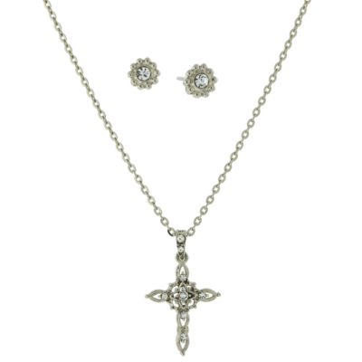 1928 Symbols Of Faith Religious Jewelry Womens Clear Silver Tone Cross 2-pc. Jewelry Set
