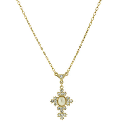 1928 Symbols Of Faith Religious Jewelry Womens Clear Cross Pendant Necklace