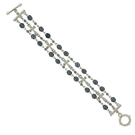 1928 Symbols Of Faith Religious Jewelry Silver Tone Beaded Bracelet