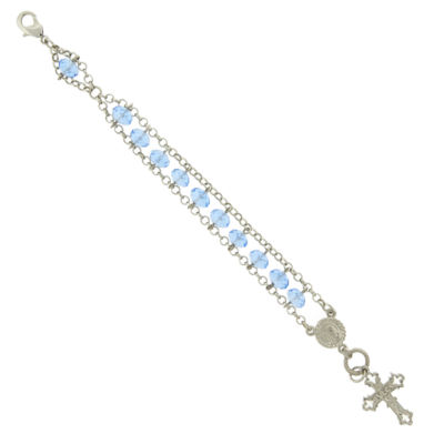 1928 Symbols Of Faith Religious Jewelry Silver Tone Cross Charm Bracelet
