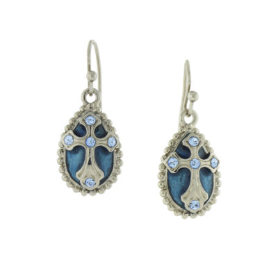 1928 Symbols Of Faith Religious Jewelry Blue Drop Earrings