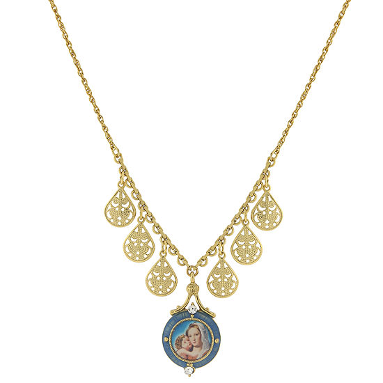 1928 Religious Jewelry Religious Jewelry 16 Inch Cable Round Pendant Necklace