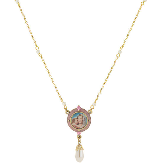 1928 Symbols Of Faith Religious Jewelry Womens Round Pendant Necklace