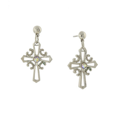 1928 Symbols Of Faith Religious Jewelry Clear Cross Drop Earrings