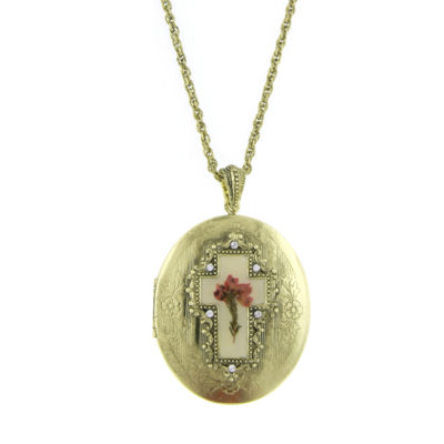 1928 Symbols Of Faith Religious Jewelry Womens Oval Locket Necklace