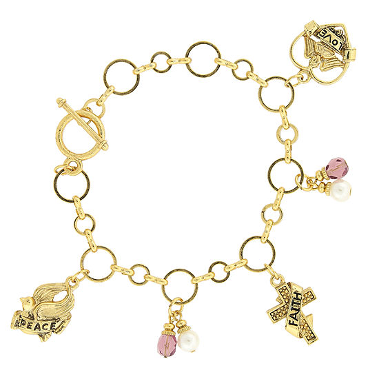 1928 Symbols Of Faith Religious Jewelry Gold Tone Charm Bracelet