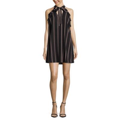 City Triangle Sleeveless Stripe A-Line Dress-Juniors