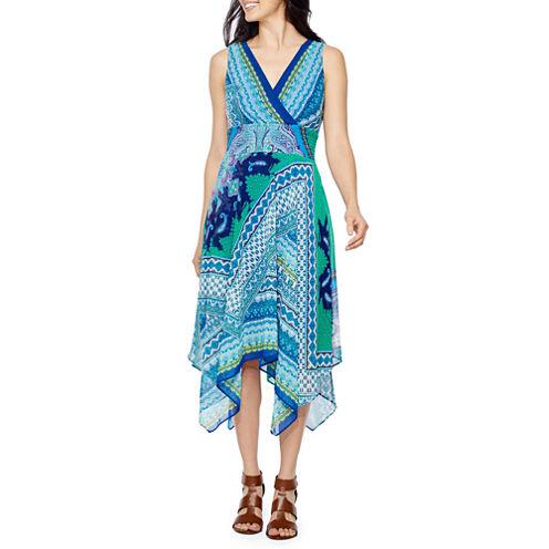 Rabbit Rabbit Rabbit Design Sleeveless Bordered Maxi Dress