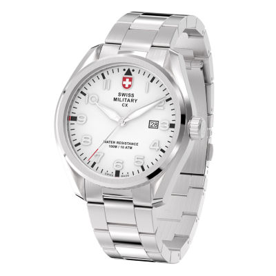 Swiss Military By Charmex Pilot Mens Silver Tone Bracelet Watch-78333_11_H